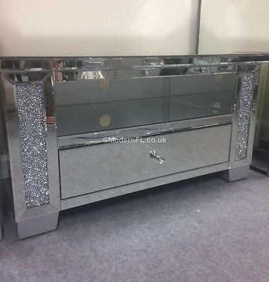 Venetian Mirrored With Crushed Crystal, Mirrored Glass Corner Tv Stand