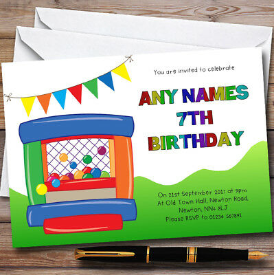 Rainbow Colours Bouncy Castle Personalised Childrens Birthday Party Invitations