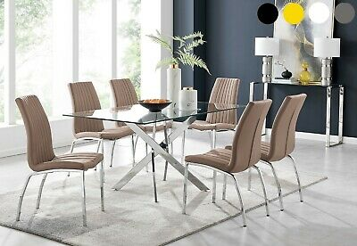 LEONARDO Black White Chrome Glass Dining Table Set And 6 Leather Dining Chairs