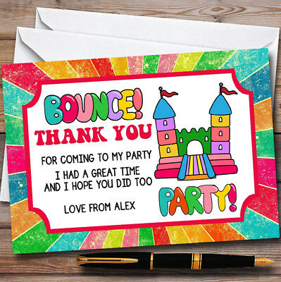 Rainbow Bouncy Castle Personalised Childrens Birthday Party Thank You Cards
