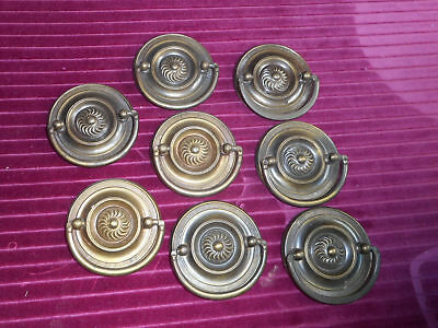 Lot of 8 Hepplewhite Round Matching Antique Vintage Brass Drawer Pull Handles