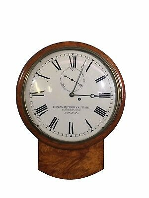 Antique 19th century and later satinwood and mahogany drop dial wall clock
