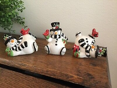 Fitz and Floyd 3 Tumbling Snowmen Ceramic Figurines w/ Red Birds