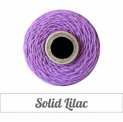 Twinery Spool Solid 4 Ply Twine Approx 240 yards-100% Cotton-Lilac Purple Bakers