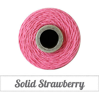 Twinery Spool Solid 4 Ply Twine Approx 240 yards-100% Cotton-Strawberry Pink