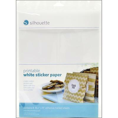 "8.5""x11"" Sheets Silhouette Printable White Sticker Paper 8/Pkg MEDIA-WHT-ADH-3T"