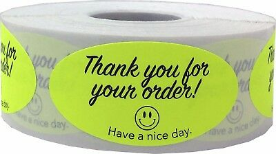 Thank You For Your Order Oval Stickers, 2 x 1 Inches, 3 Color Choices, 500 Total