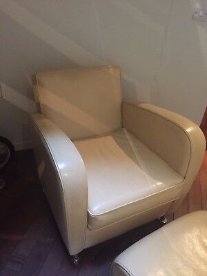 Cream Leather Armchair and Footstool