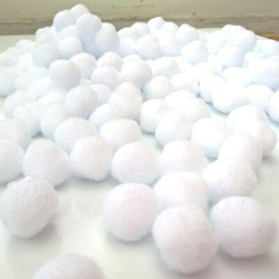 "White Pom Poms for Christmas Craft - Size 25mm (1"") - Pack sizes from 50 to 200"