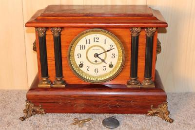 Antique Seth Thomas Rosewood Adamantine 8 Day Clock ~ Early 1900's ~ Runs Good ~