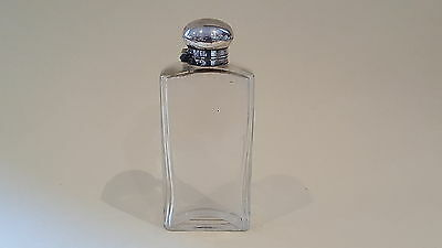 Silver plate / electroplate clear glass vintage Victorian antique cologne bottle