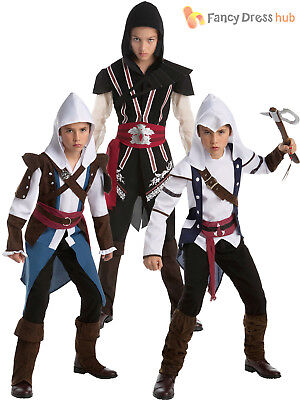 Boys Assassins Creed Teen Fancy Dress Costume Official Video Game Kids Outfit