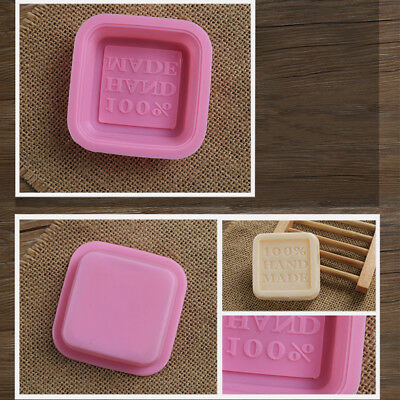 """""""100% Hand Made"""" Letters Shape Silicone Mold Forming Cake Soap Jelly Decoration"""