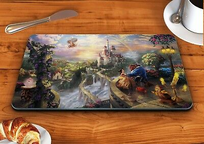 Beauty and the beast art disney glass chopping cutting board food kitchen
