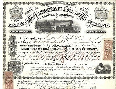 Marietta and Cincinnati Railroad Stock Certificate -1863