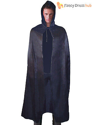 Black Hooded Satin Cape Cloak Halloween Fancy Dress Costume Mens Ladies 142cm