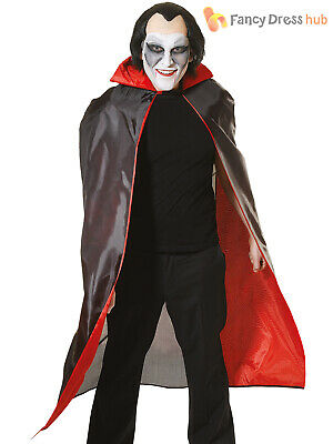 Adults Black Red Lined Dracula Cape Halloween Vampire Fancy Dress Accessory
