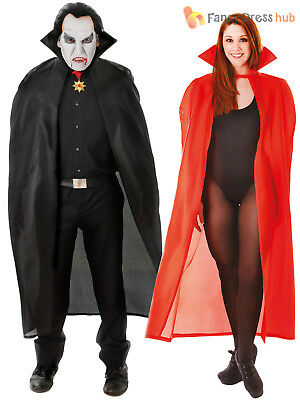 Adults Long Dracula Vampire Cape Halloween Black Red Fancy Dress Accessory 56""