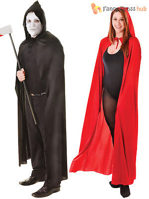 Adults Hooded Cape Black Red Halloween Red Riding Hood Fancy Dress Accessory