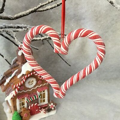 10cm Candy Cane Resin Heart Gisela Graham Gingerbread Style Red & White Stripes