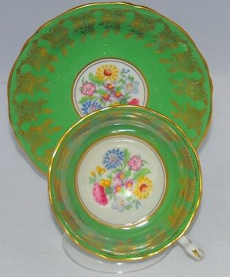 Vintage English Bone China Adderley Green Floral  Cup & Saucer