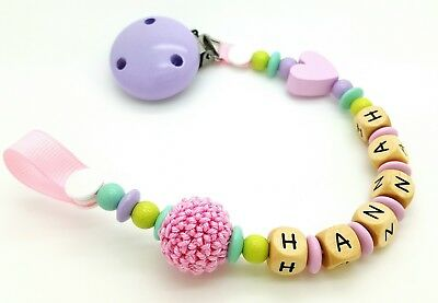 Personalised  baby girl wooden toy or dummy Clip / Baby gift