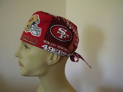 Surgical Scrub Hat/ Cap -NFL-SAN FRANCISCO 49ERS (Block)- One size-  Men Women