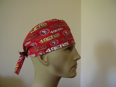 Surgical Scrub Hat/ Cap -NFL-SAN FRANCISCO 49ERS (Red/Gold) -One size- Men Women