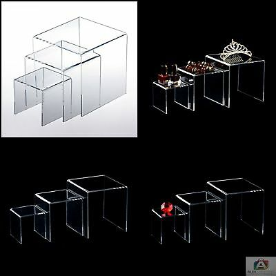 "New Adorox 3 Pack Clear Acrylic Display Riser 3"" 4"" 5"" Jewelry Showcase Display"