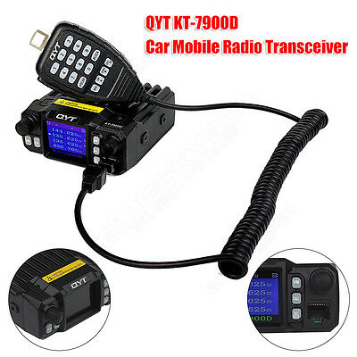 QYT KT-7900D Car Mobile Radio Transceiver Intercom VHF UHF 25W 477MHz Microphone