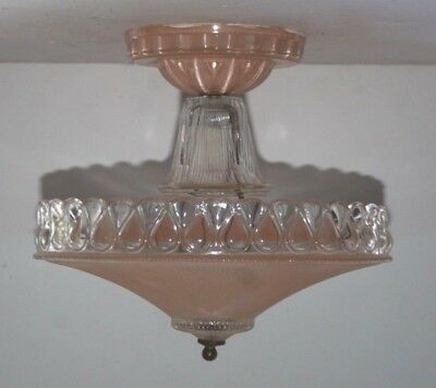 Antique pink glass shade semi flush Art Deco light fixture ceiling chandelier