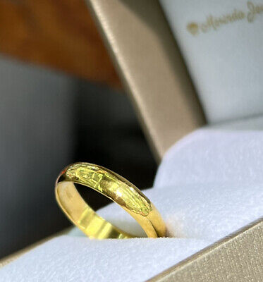 24k Solid Pure 999.9 Gold Handcraft Unisex Band rings/ Wedding Ring 3.75 grams