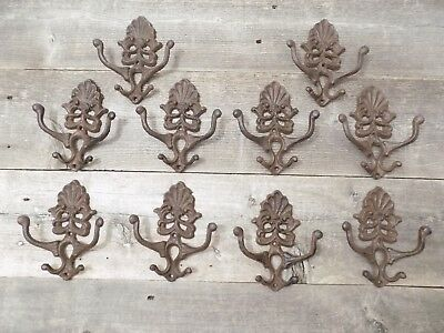 10 Cast Iron Coat Hat Wall Hooks Antique Style School Farm Tack Closet Brown