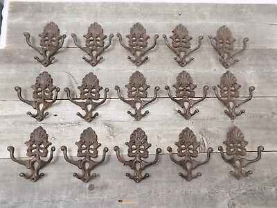 20 Cast Iron Coat Hat Wall Hooks Antique Style School Farm Tack Closet Brown