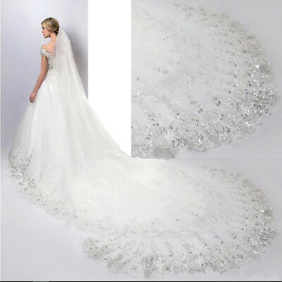 4m Graceful Luxury 1T Cathedral Wedding Lace Sequins Long Veil With Comb