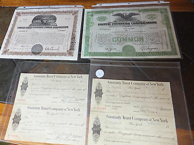 US Electric Power Corp & United Founders Corp Stocks & Guaranty Trust Co NY