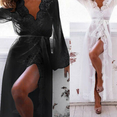 Women's Long Sleeve Lace Dress Sexy Lingerie Robe Sheer With G-String Night Set