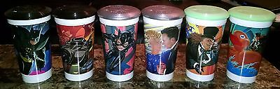 Batman Returns McDonald's Cups Lot Complete Set of 6 w/ Lids Coca Cola 1992
