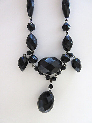 True Victorian Antique Black Diamond-Cut Glass French Jet Mourning Necklace