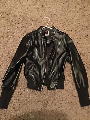 Black Faux Leather Jacket Small Child Urban Groove