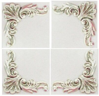 Rare Finely Etched Ox Silver Corner Stampings Delicate Floral Art Nouveau Style