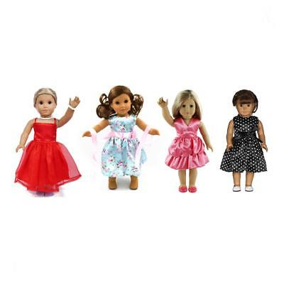 4 Sets 18inch Dolls Dresses Party Cute Dress for 18'' American Girl Doll