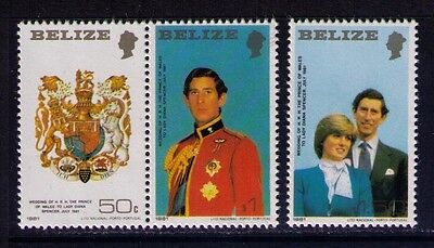 Belize Stamps 1981 Charles and Diana Wedding SC# 548-50,MNH