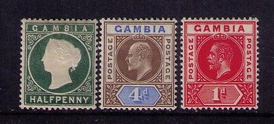 Gambia Stamps QV/KEVII/KGV Sc # 12;48;71 MH/MNH