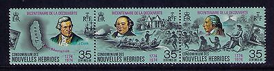 New Hebrides Stamps, Bicentenary of Discovery SC#210a Strip of 3 Folded MNH