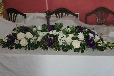 Large Wedding Flower Top Table Decoration   ** 4 Foot Long X 1 Foot Wide**