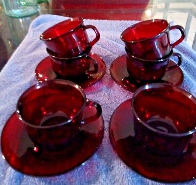 10 piece Vintage Set of 6 Luminarc Arcoroc France Ruby Red Tea Cups & 4 Saucers