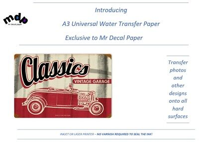 A3 Universal Water Slide Transfer Decal Paper - Custom prints on hard surfaces