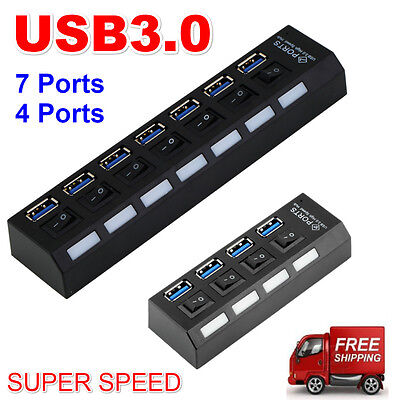 4/7Ports USB 3.0 Hub with On/Off Switch+AU AC Power Adapter for PC Laptop Lot MN