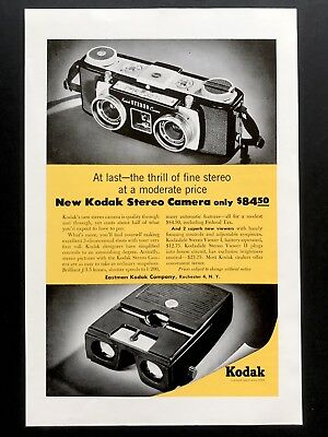 1955 Vintage Print Ad KODAK Photography Equipment Stereo Camera